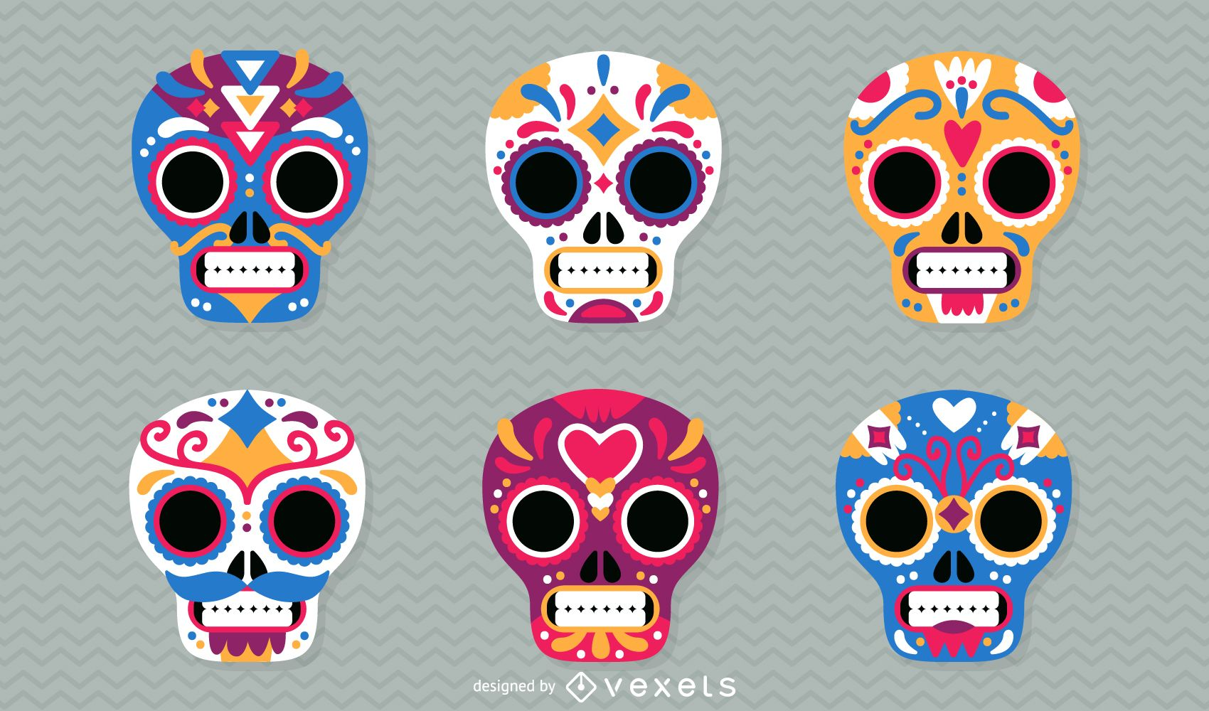 Day of the Dead mexican skulls illustration