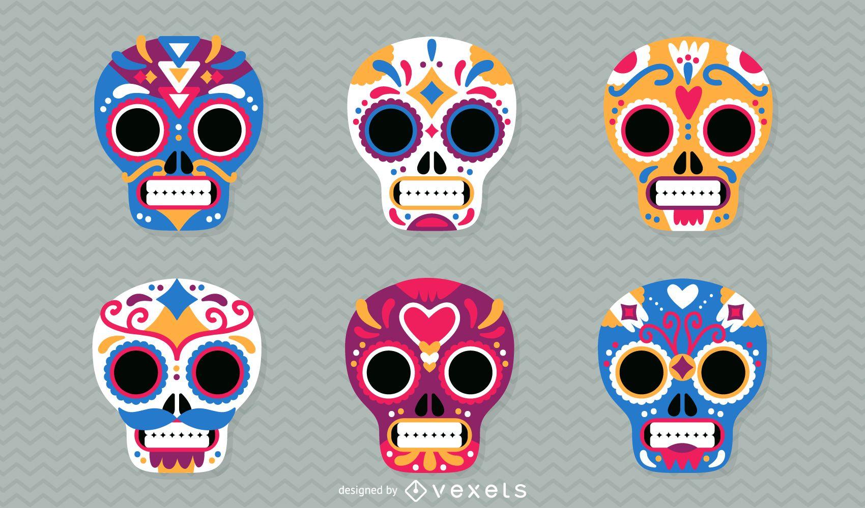 Ilustración de calaveras mexicanas del día de muertos