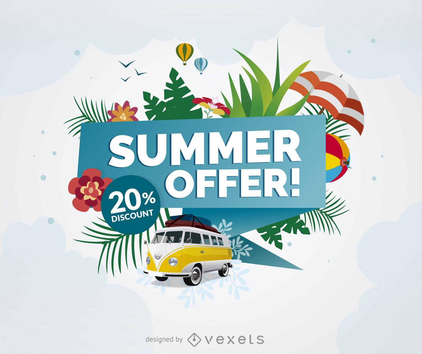 Cartel promocional de oferta de verano.