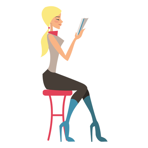 Blond girl reading Transparent PNG