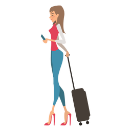 Girl carrying luggage