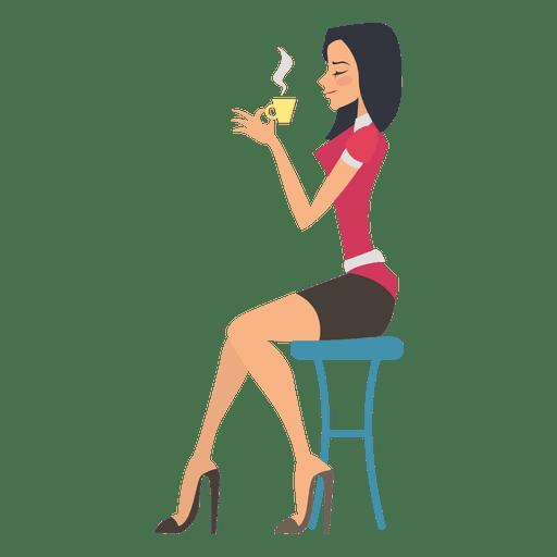 Girl drinking tea Transparent PNG