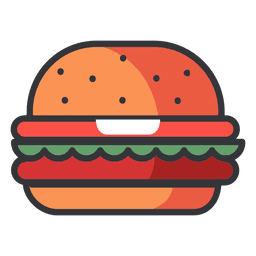Ícone plana de hambúrguer de fast-food