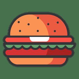 Icono plano de hamburguesa de comida rápida