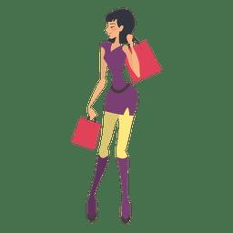 Chica de compras llevando bolsas
