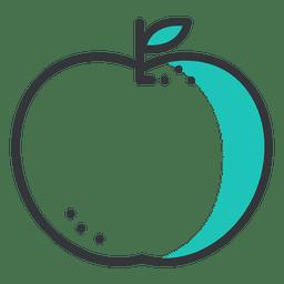 Icono de golpe de manzana con sombra verde