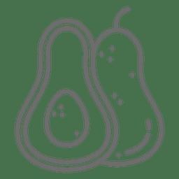 Icono de trazo de aguacate