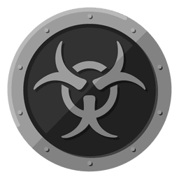 Símbolo de metal de risco biológico