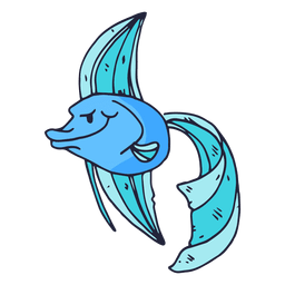 Blue fish cartoon