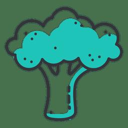 Icono de trazo de brócoli con sombra