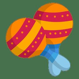 Maracas coloridas ícone plano