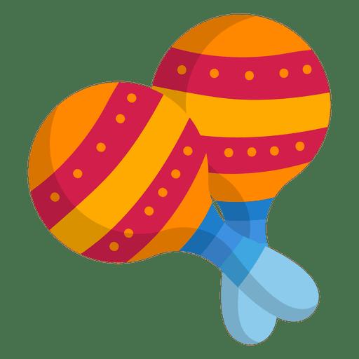 Colorful maracas flat icon