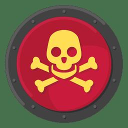 Color de símbolo de metal de cráneo de muerte