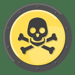 Muerte cráneo metal símbolo amarillo
