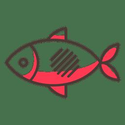 Icono de trazo de pescado con sombras