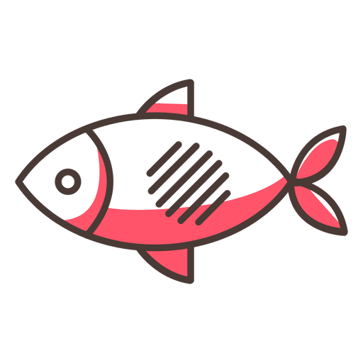 Fish stroke icon with shadows Transparent PNG