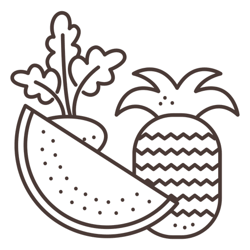 Fruits stroke icons Transparent PNG