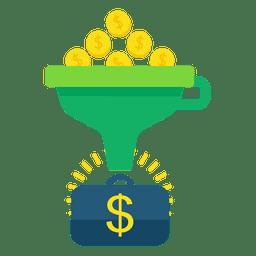 Dinheiro de conversão de funil