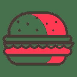 Ícone de traçado de Hamburguer com sombra vermelha