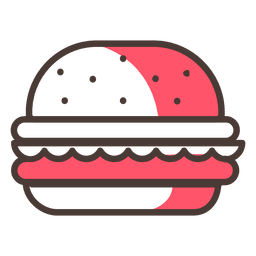 Icono de trazo de hamburguesa con sombra roja