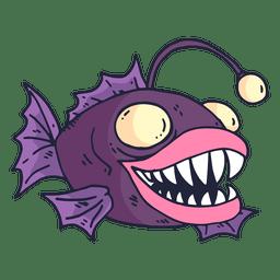 Lila Fischkarikatur