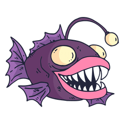Purple fish cartoon