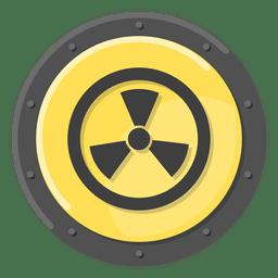 Símbolo de metal radiactivo amarillo