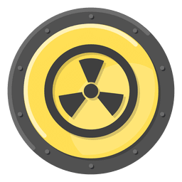 Símbolo de metal radioativo amarelo