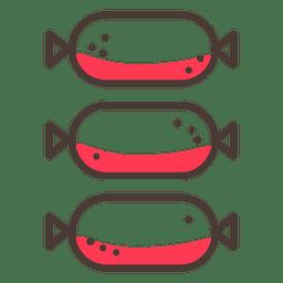 Tres icono de trazo de salchicha