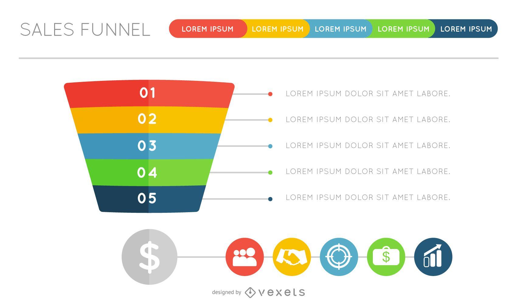 Diseño infográfico de embudo plano