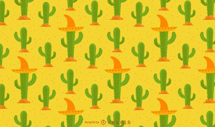 Cactus pattern with mexican hat