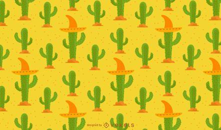Patrón de cactus con sombrero mexicano.