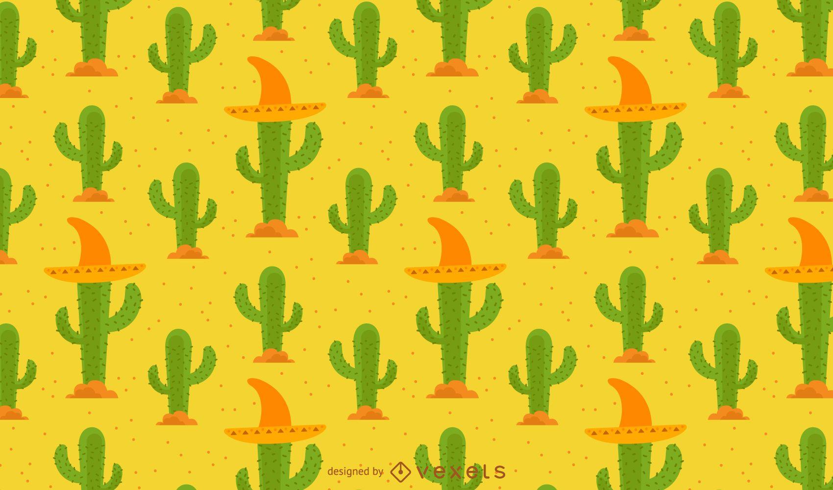 Patrón de cactus con sombrero mexicano