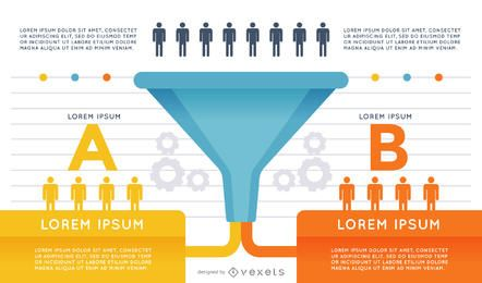 Diseño infográfico embudo.