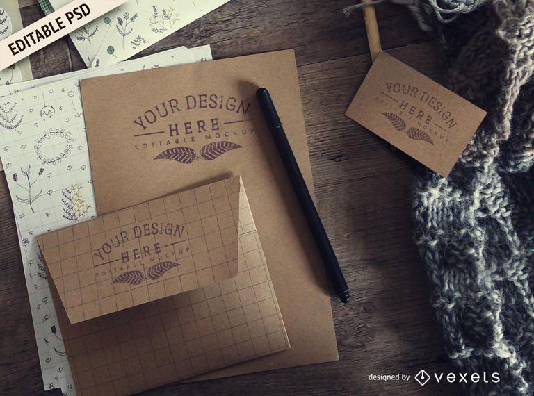 Maquete de PSD de branding de papelaria