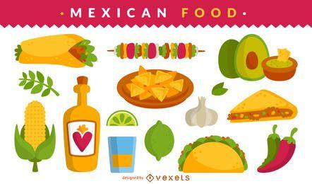 Conjunto de ilustración de comida mexicana