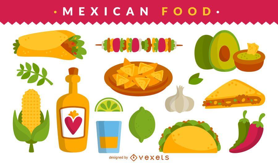 Conjunto de ilustração de comida mexicana