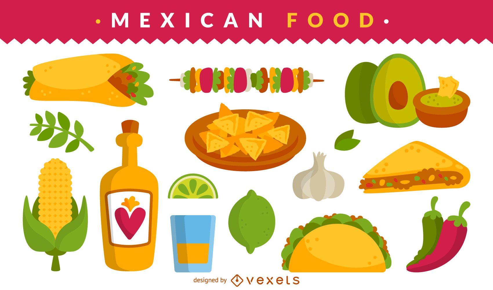 Mexican food illustration set