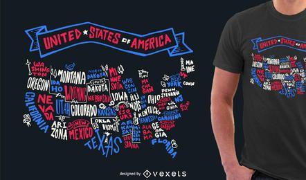 Diseño de camiseta con letras de Estados Unidos