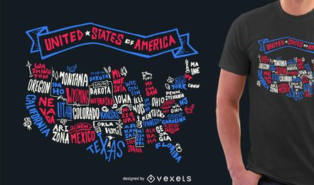 Modelo de design de tshirt de rotulação de EUA