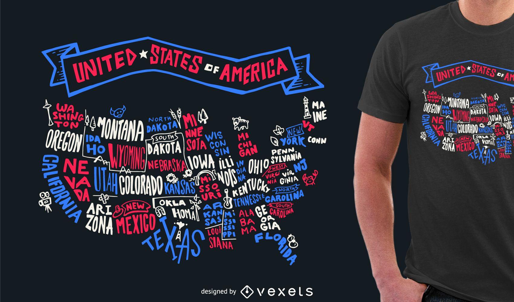 Design de camiseta com letras dos EUA