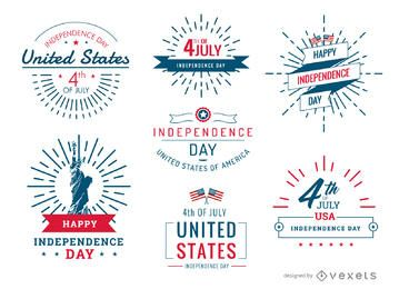 4 de julio conjunto de insignias y etiquetas de Estados Unidos