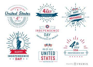 Conjunto de emblemas e etiquetas dos Estados Unidos de 4 de julho