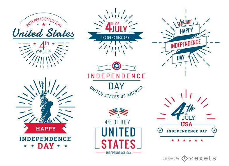 4 de julho de emblemas e conjuntos de etiquetas de United Stated