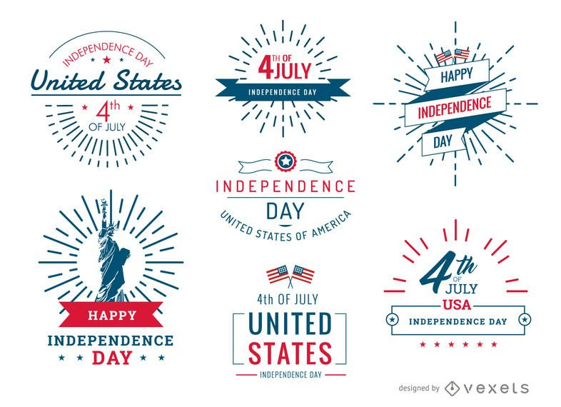 4th of July United Stated badges and labels set