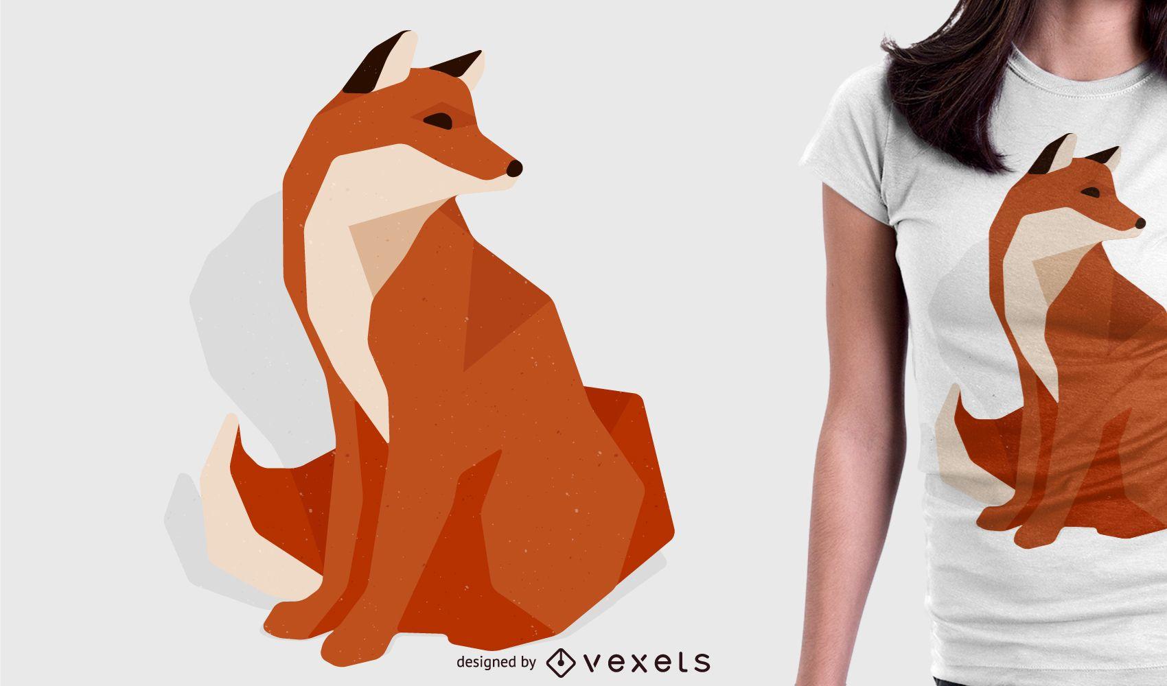 Design poligonal de tshirt raposa