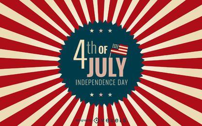 4 de distintivo de julho com fundo starburst