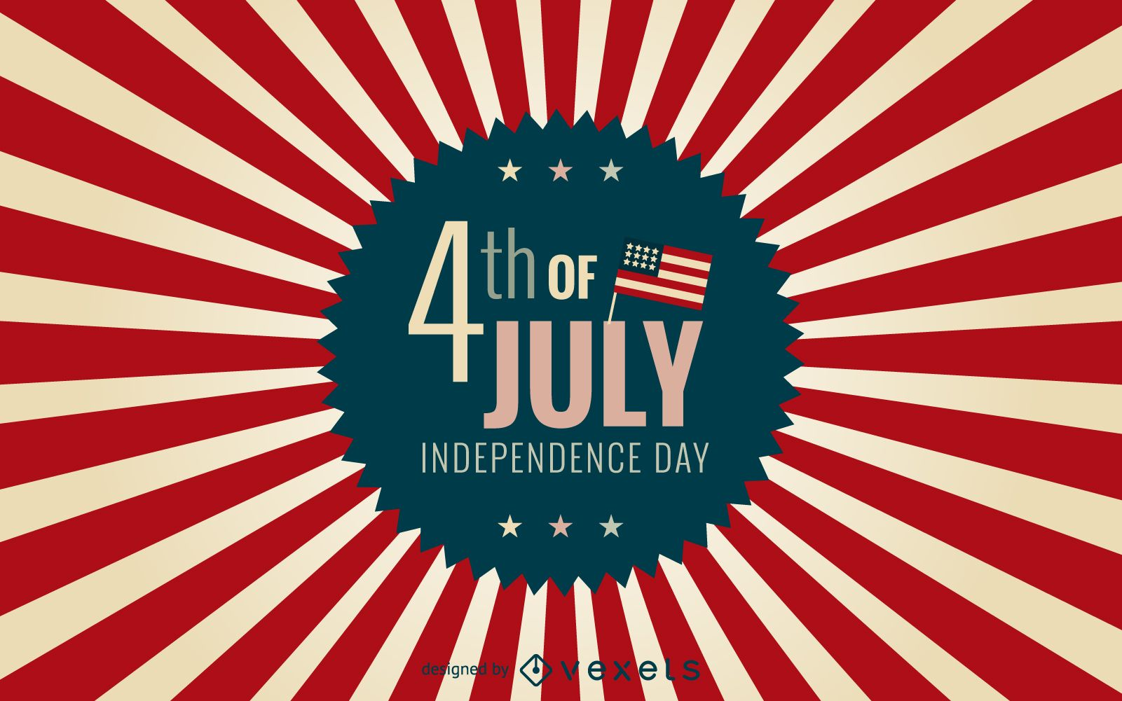 4th Of July Badge With Starburst Background Vector Download
