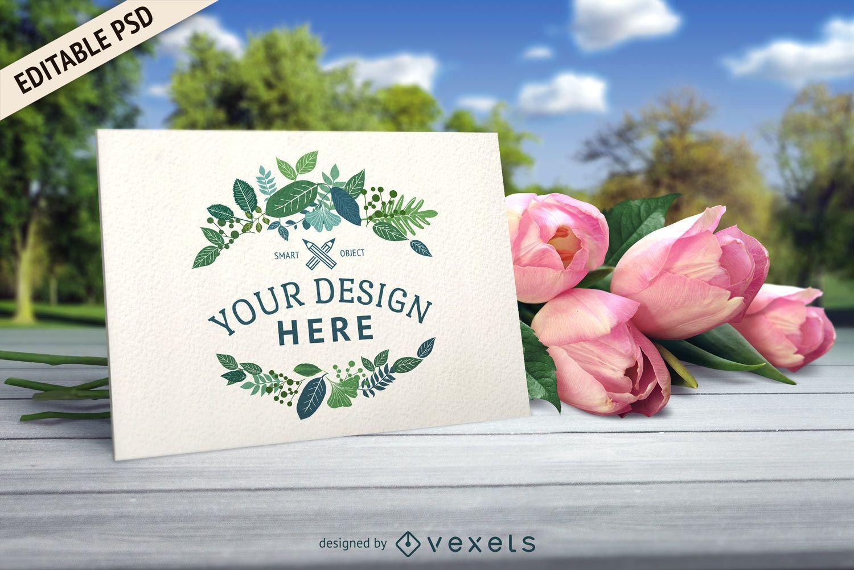 Wedding card PSD mockup