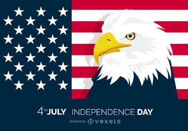 Cartel patriótico del 4 de julio con águila
